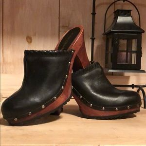 Candie's studded wood clogs